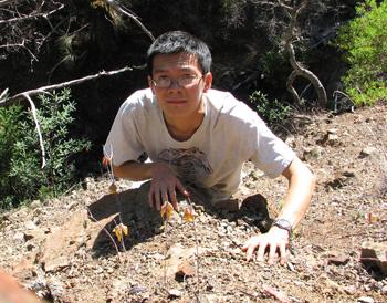 Nhu Nguyen on an outing with Calochortus raichei