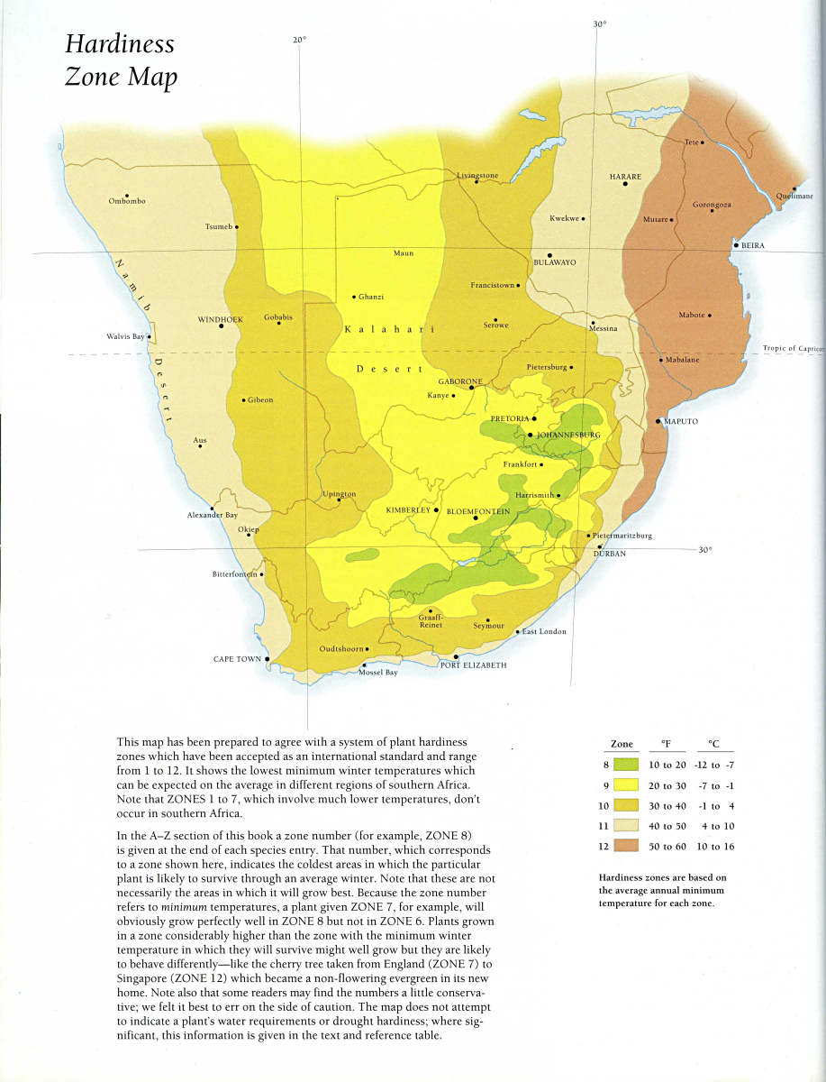 a usda plant hardiness map put onto southern africa